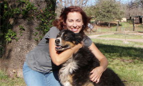 Camille Schake - GoodPetParent.com - with Doogie at Whispering Hope Ranch.